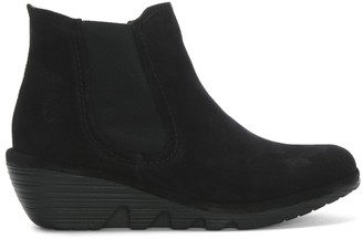 Fly London Phil Black Suede Wedge Chelsea Boots