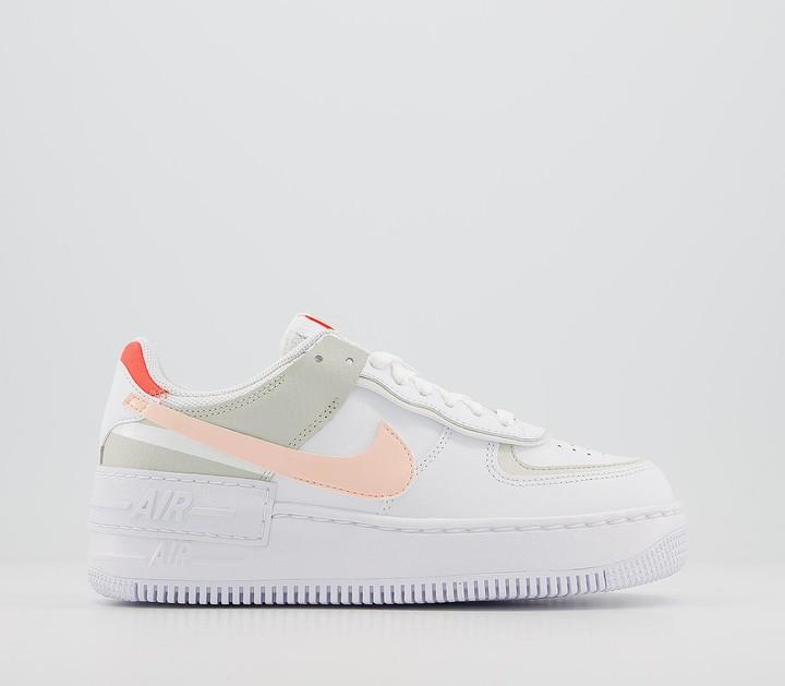 Nike Force 1 Shadow Trainers White Crimson Tint Bright Mango Pearl White