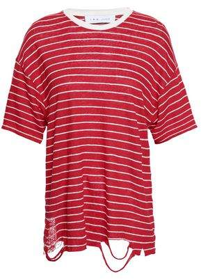 IRO Conah Distressed Striped Linen-jersey T-shirt