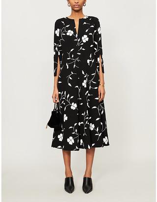Oscar de la Renta Pleated floral-print wool-blend midi dress