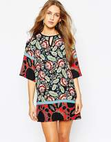 MANGO Kimono Sleeve Shift Dress In Lotus Flower Print