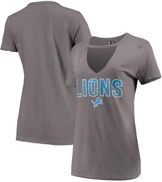 New Era Women's Gray Detroit Lions Gradient Glitter Choker V-Neck T-Shirt