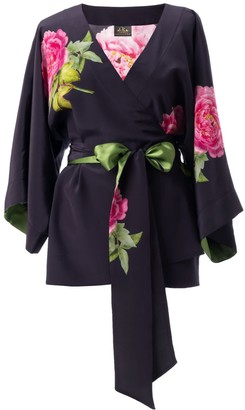 Castlebird Rose La Pivoine Silk Kimono Top - Midnight Blue