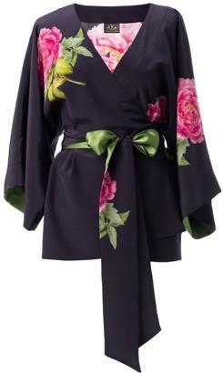 Castlebird Rose Silk Kimono Top Midnight Blue