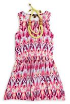 Imoga Toddler's, Little Girl's & Girl's Nila Two-Piece Ikat-Print Dress & Necklace Set