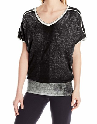 Blanc Noir Women's Short Sleeve Pigment Print Sweater
