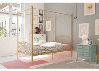DHP Canopy Metal Bed, Twin Size Frame, Gold