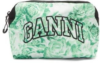 Ganni Logo-embroidered Floral-print Makeup Bag - Green Multi