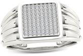 Zales Men's 1/5 CT. T.W. Composite Diamond Square Signet Ring in 14K White Gold