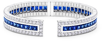 Paul Morelli Rectangular Pinpoint Cuff Bracelet with Sapphires & Diamonds