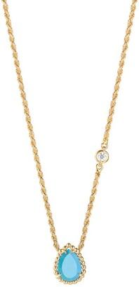 Boucheron Yellow Gold Diamond and Turquoise Serpent Boheme Necklace