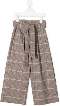 BRUNELLO CUCINELLI KIDS Checked Wide Leg Trousers