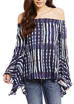 Miss Me Printed Bell-Sleeve Off-The-Shoulder Top