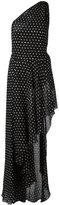 Saint Laurent polka dot asymmetric dress - women - Silk/Polyamide/Spandex/Elastane/Viscose - 36