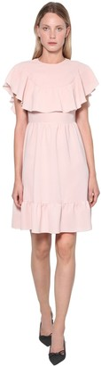 RED Valentino RUFFLED FLUID CREPE MIDI DRESS