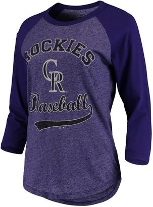 Majestic Women's Threads Purple Colorado Rockies Team Baseball Three-Quarter Raglan Sleeve Tri-Blend T-Shirt