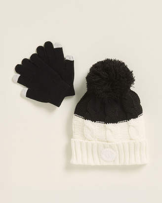 DKNY Girls 7-16) Cable Knit Black & White Slouch Pom Beanie & Gloves Set