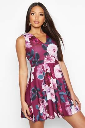 boohoo Floral Plunge Skater Dress