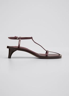 Jil Sander Leather T-Strap Kitten-Heel Sandals