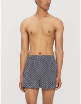 Sunspel Mens Navy Blue Graphic Print Regular Fit Cotton Boxer Shorts