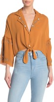 Z&L Europe Embroidered Tie Hem Blouse