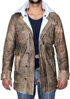BlingSoul Distressed Real Leather Coat Men Sheepskin Jacket ►BEST SELLER◄ (3XL, )