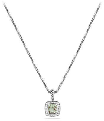 David Yurman Petite Albion Pendant with Prasiolite and Diamonds on Chain