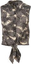 Grey Pineapple Print Cropped Shirt