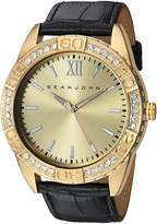 Sean John Men's 'Bond' Quartz Metal and Leather Dress Watch, Color:Black (Model: SJC0171004)
