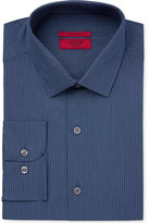 Alfani Men's Fitted Performance Stretch Easy Care Navy Turquoise Micro Stripe Dress Shirt, Created for Macy's