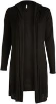Celeste Black Hooded Open Cardigan - Plus
