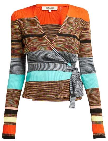 Diane von Furstenberg Striped Knitted Wrap Cardigan - Womens - Multi