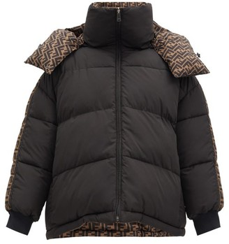Fendi Reversible Ff-monogram Quilted Down Jacket - Black Multi