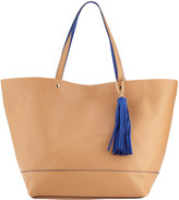 Neiman Marcus Saffiano Faux-Leather Tassel Tote Bag, Camel