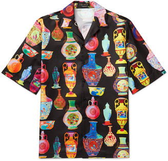 Versace Camp-Collar Printed Voile Shirt
