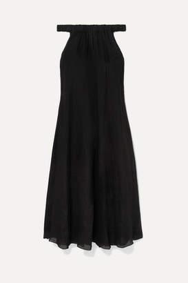 Three Graces London Evangeline Off-the-shoulder Ramie Maxi Dress - Black
