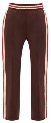 Wales Bonner Palms Crochet-striped Cotton-jersey Track Pants - Dark Brown