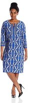 NY Collection Women's Plus-Size Three-Quarter-Sleeve Split-Neck Dress