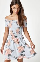 La Hearts Off-The-Shoulder Smocked Dress