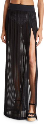 Shan Monika Side-Slit Coverup Maxi Skirt