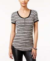 Almost Famous Juniors' Zip-Front Henley Top