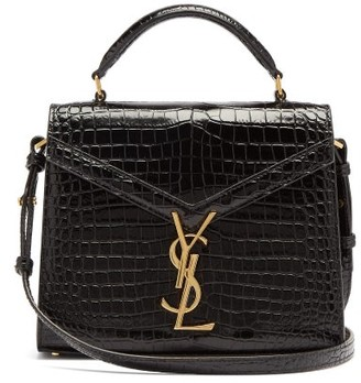 Saint Laurent Cassandra Croc-effect Leather Cross-body Bag - Black