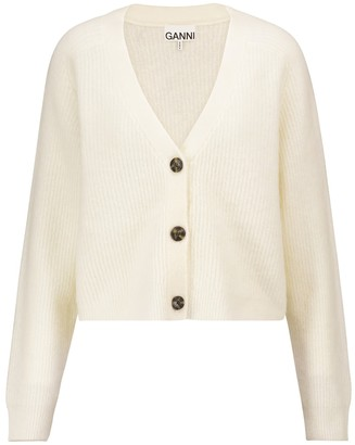 Ganni Cropped wool-blend cardigan