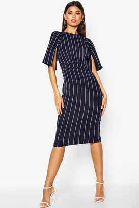 boohoo Stripe Split Sleeve Wiggle Midi Dress