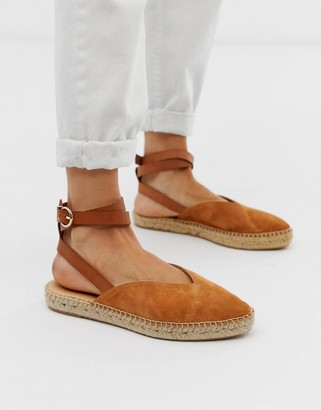 Office Faris tan suede espadrilles with ankle strap