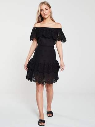 Very Tiered BroderieBardotDress - Black