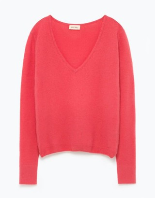 American Vintage Pink Mercerized Wool Svinday Hortensia Sweater - L - Pink
