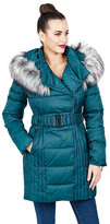 Betsey Johnson Belted Faux Fur Trimmed Puffer Coat