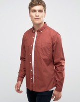 Asos Textured Twill Shirt In Rust With Long Sleeves