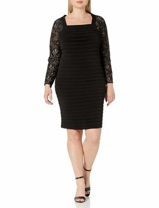 London Times Women's Plus Size Long Sleeve Square Neck Sheath Dress